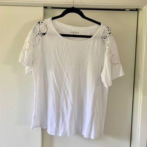 Loft white 100% cotton t-shirt with lace